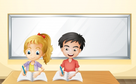class room: Illustration of a boy and a girl in front of an empty whiteboard Illustration