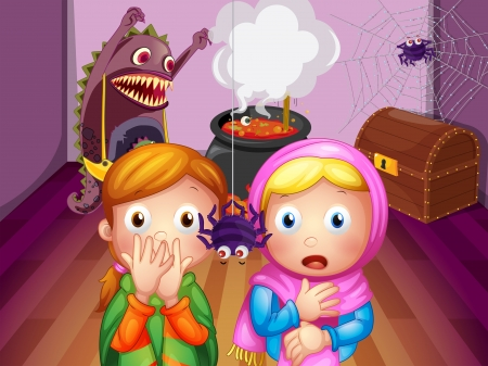 Illustration of the shocked faces of two girls in front of a spider Vector