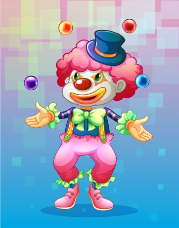clown shoes: Illustration of a clown with four colorful balls