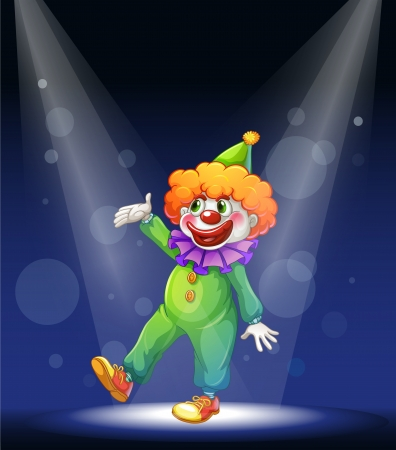 stage costume: Illustration of a clown at the center of the stage with a spotlight