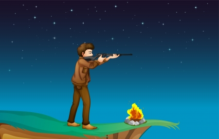 Illustration of a boy with a gun at the cliff with a campfire Vector