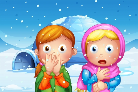 Illustration of the two shocked girl with snowflakes