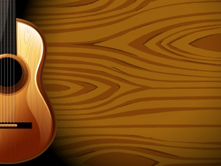 Illustration of a guitar beside a wood-colored wall Illustration
