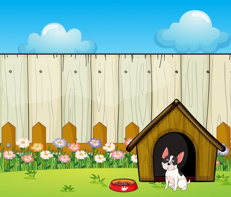 house pet: Illustration of a puppy in front of the doghouse inside the fence