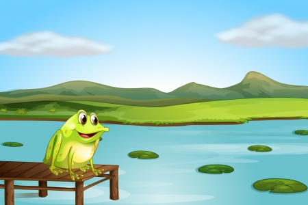 pad  lily: Illustration of a frog above the wooden bridge