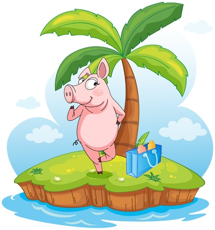 Illustration of a pig in an island on a white background