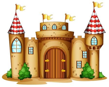 Illustratie van een kasteel met vier banners op een witte achtergrond
