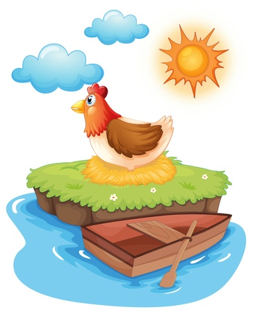 Illustration of a chicken hatching eggs in an island on a white background Illustration