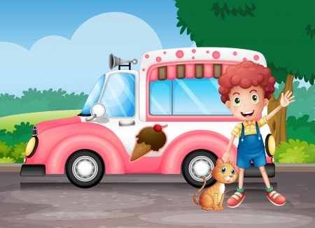 Illustration of a boy and his cat near a pink bus Vector