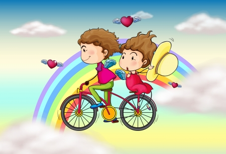 love pic: Illustration of the lovers riding in a bike near the rainbow
