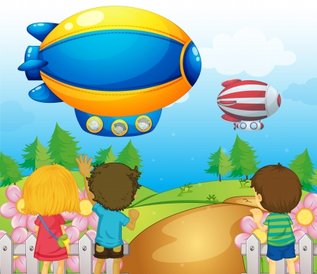 Illustration of the kids watching the airships Vector