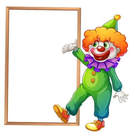 Illustration of a clown pointing at the white board on a white background Vector