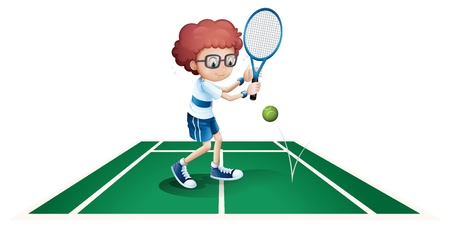 backhand: Illustration of an athletic boy on a white background