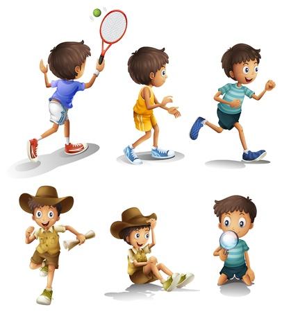 Illustratie van de jongens met verschillende activiteiten op een witte achtergrond