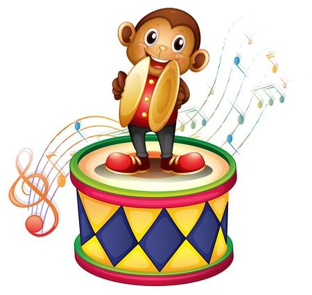 simbolos musicales: Ilustraci�n de un mono por encima de un tambor con platillos sobre un fondo blanco