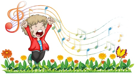 Illustration of a boy singing at the garden on a white background Vector