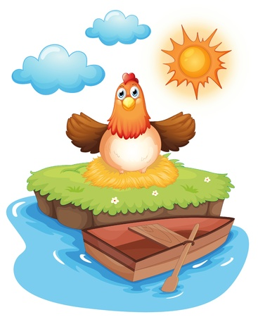 Illustration of a chicken hatching eggs in an island on a white background Vector