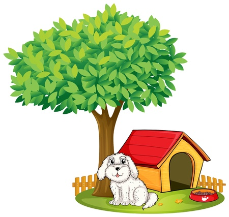 dog kennel: Illustration of a white puppy beside a doghouse under a big tree on a white background