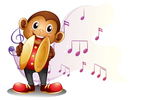 sixteenth note: Illustration of a monkey playing with the cymbals on a white background