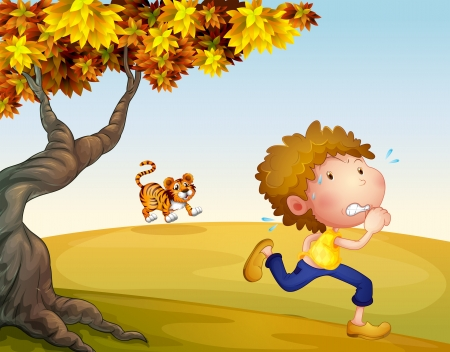 Illustration of a boy running with a tiger at his back Illustration