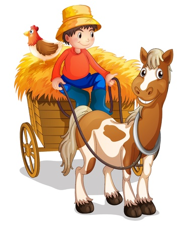 Illustration of a farmer riding a cart with a chicken at his back on a white background Vector