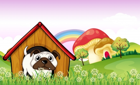 bulldog puppy: Illustration of a bulldog in the doghouse near the giant mushrooms