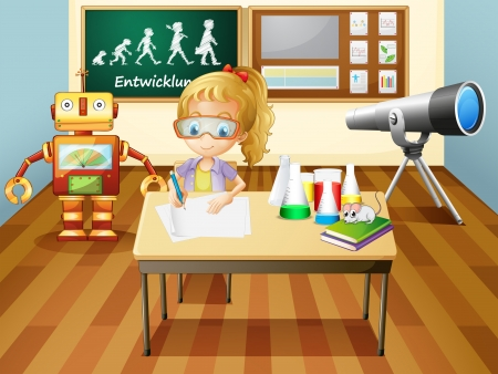 cartoon science: Illustration of a girl writing inside a science laboratory room