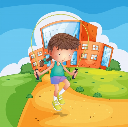 Illustration of a young girl playing at the school ground Stock Vector - 18323719