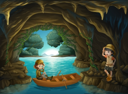Illustration of the two brave girls at the cave Vector