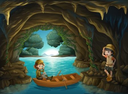 cueva: Ilustración de las dos jóvenes valientes en la cueva Vectores