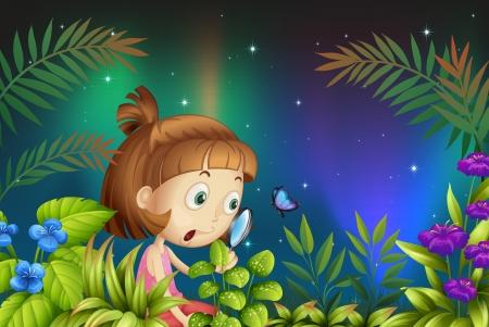ochtend dauw: Illustratie van een meisje op zoek naar het vergrootglas met een vlinder