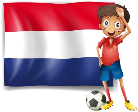 Illustration of the flag of Netherlands with a soccer player on a white background Stock Vector - 18324387