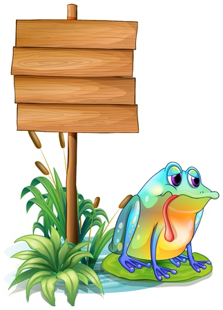 direction board: Illustration of a sad frog above the waterlily beside the wooden signboard on a white background