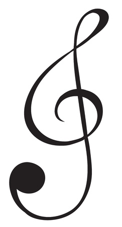 gclef: Illustration of a G-clef sign on a white background Illustration