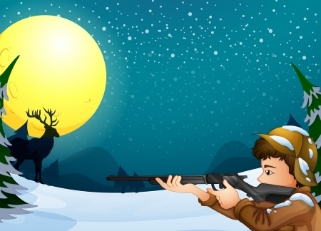 Illustration of a hunter in a snowy season Vector
