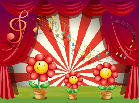 centerstage: Illustration of the colorful flowers with musical notes at the stage Illustration