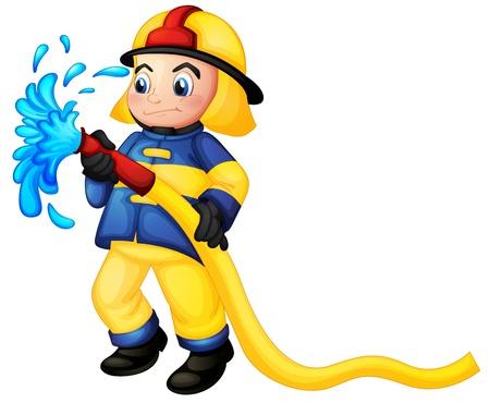 mangera: Ilustración de un bombero que sostiene una manguera de agua amarillo sobre un fondo blanco