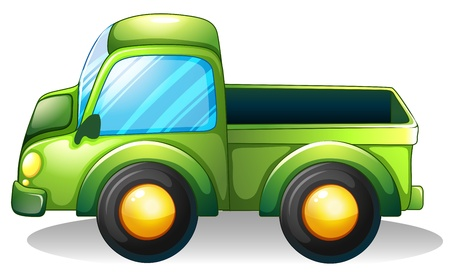 Illustration of a green truck on a white background Vector