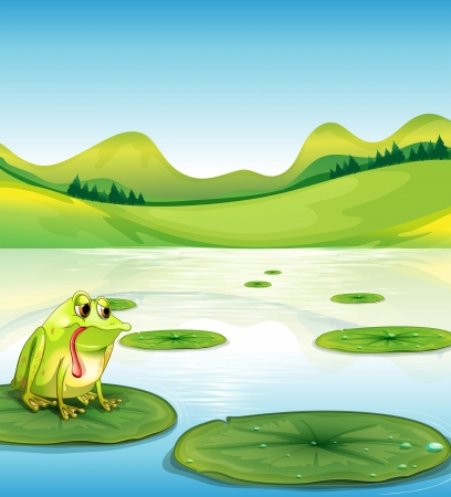 lily pad: Illustration of a hungry frog above the waterlily