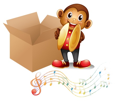 cymbals: Illustration of a monkey with cymbals beside a box with musical notes on a white background