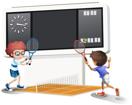 scoreboard: Illustration of the boys playing tennis with a big scoreboard on a white background