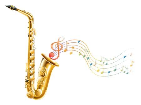 Illustration d'un saxophone d'or avec des notes de musique sur un fond blanc