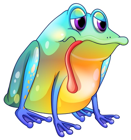 one eye: Illustration of a colorful sad frog on a white background Illustration