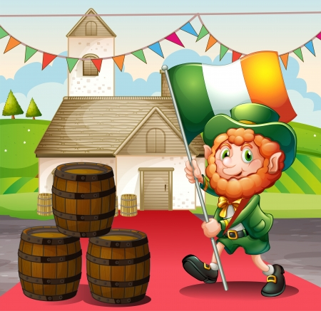 patron saint of ireland: Illustration of a man holding a flag walking in a red carpet Illustration