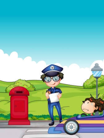 female police: Illustration of a girl caught by the traffic enforcer Illustration