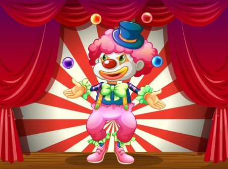 Illustration of a clown at the center of the stage Vector