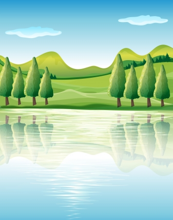 hills land: Illustration of the beauty of nature
