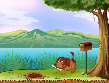 cartoon envelope: Illustration of a dog with a bone beside a wooden mailbox