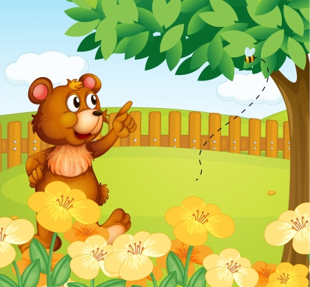 Illustration of a bear inside the fence pointing a bee Vector