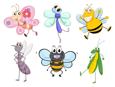 Illustration of the flying insects on a white background Vector